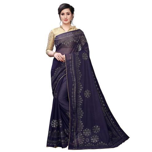 Ethnic Blue Colored Partywear Embelished Lycra Blend Saree
