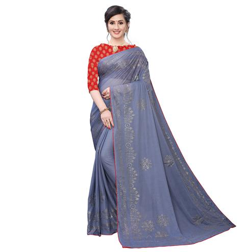 Staring Grey Colored Partywear Embelished Lycra Blend Saree