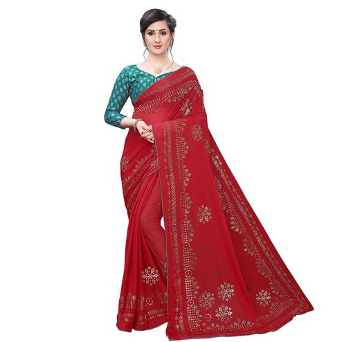 Surpassing Red Colored Partywear Embelished Lycra Blend Saree