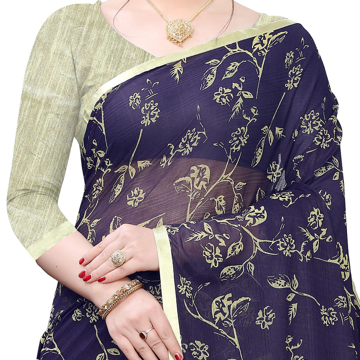 Flaunt Navy Blue Colored Casual Wear Printed Lycra Blend Saree