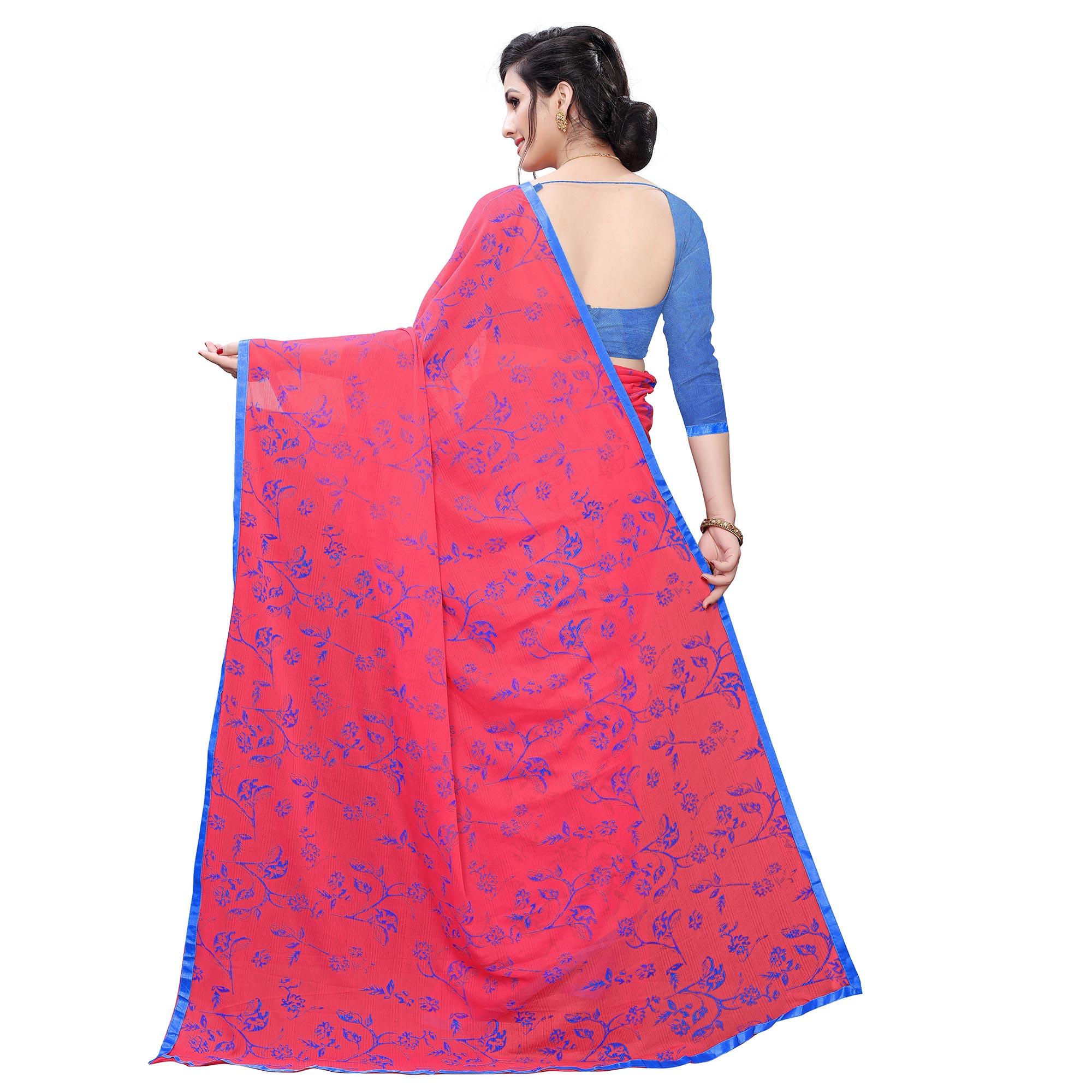Stunning Pink Colored Casual Wear Printed Lycra Blend Saree