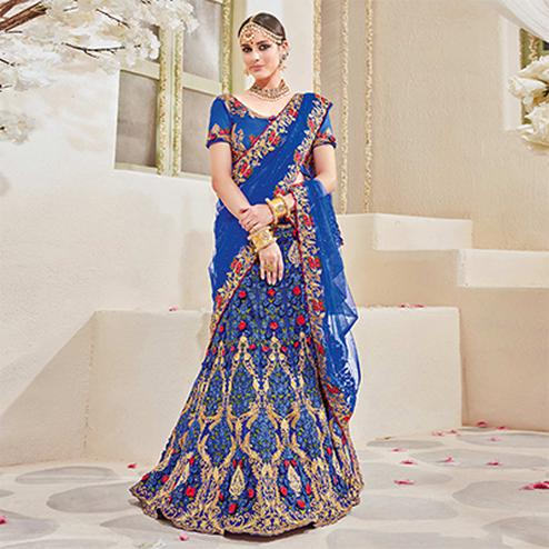 Appealing Royal Blue Net Designer Embroidered Lehenga Choli