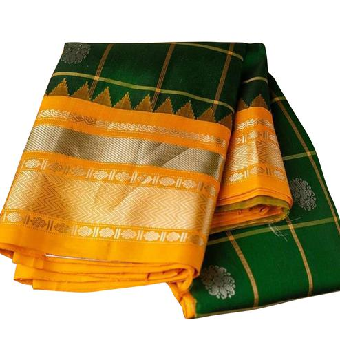 Impressive Bottle Green Colored Festive Wear Woven Nylon Lichi Silk Saree
