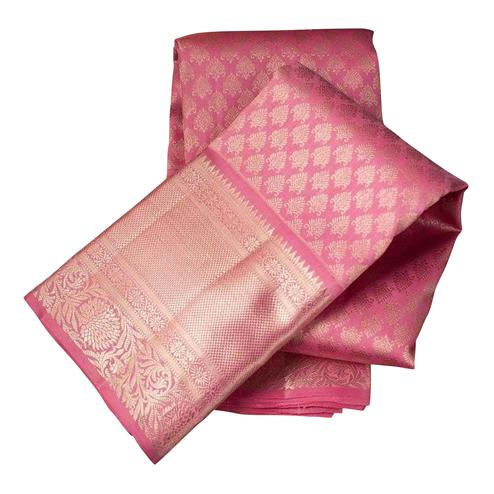 Majesty Pink Colored Festive Wear Woven Nylon Lichi Silk Saree