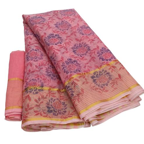 Majesty Pink Colored Casual Wear Floral Printed Net Saree