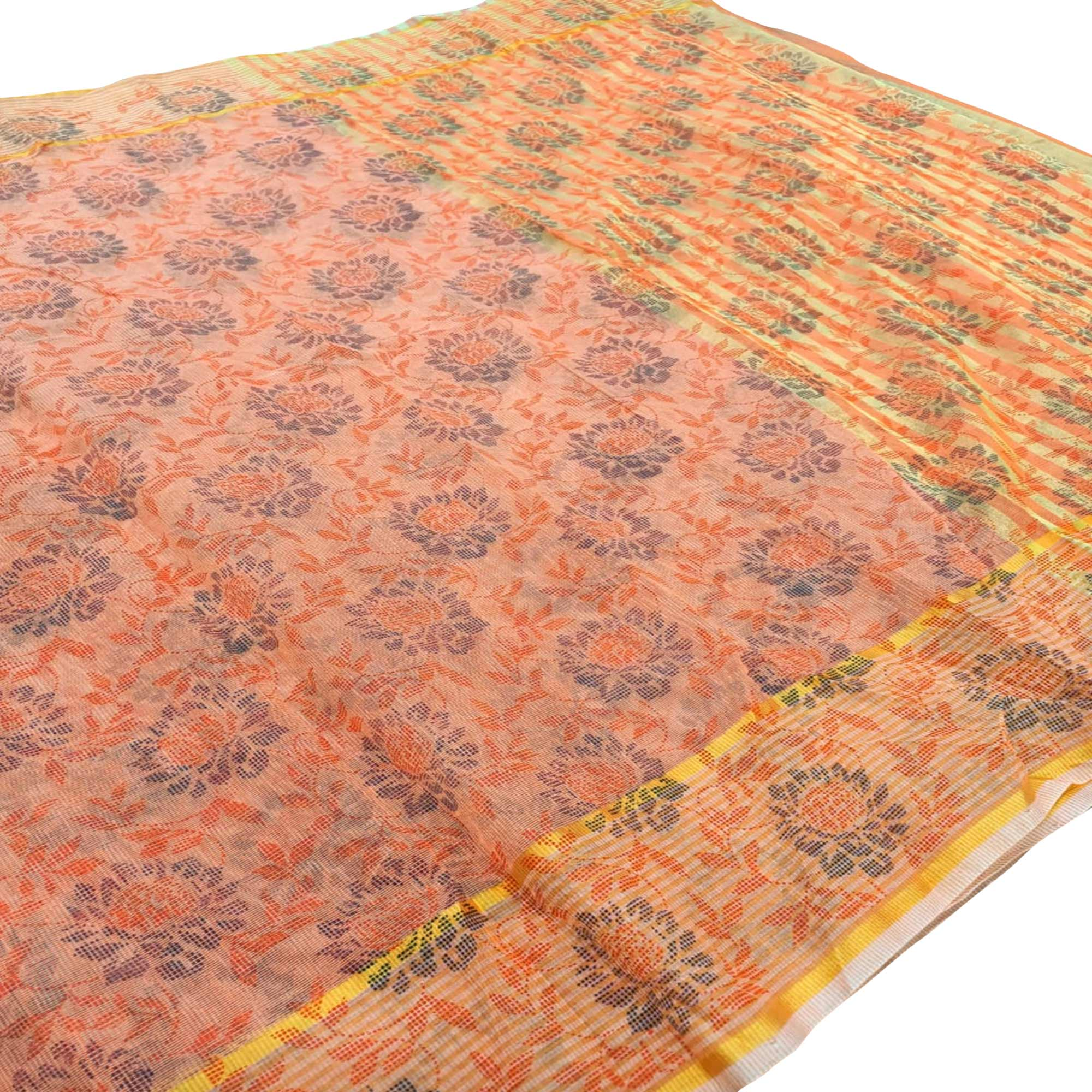 Gleaming Peach Colored Casual Wear Floral Printed Net Saree