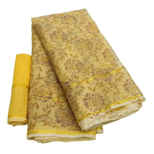 Mesmeric Light Yellow Colored Casual Wear Floral Printed Net Saree