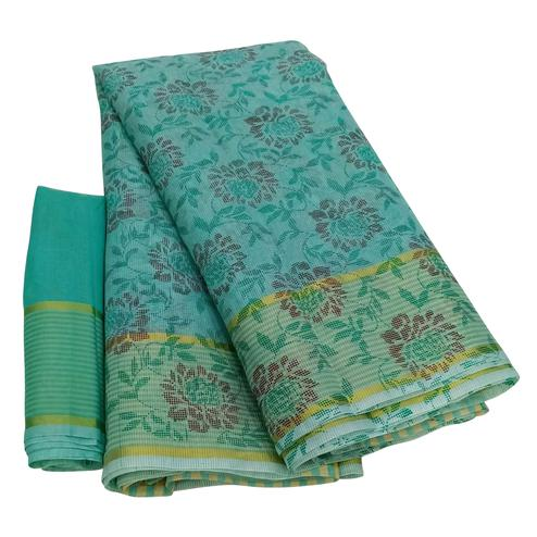Unique Blue Colored Casual Wear Floral Printed Net Saree