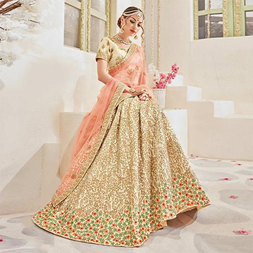 Dazzling Beige And Peach Designer Lehenga Choli