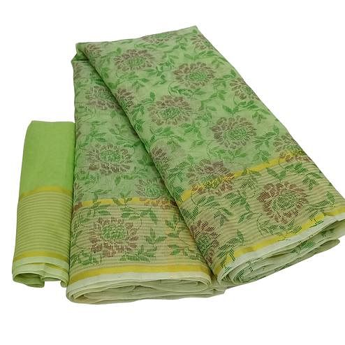 Demanding Green Colored Casual Wear Floral Printed Net Saree