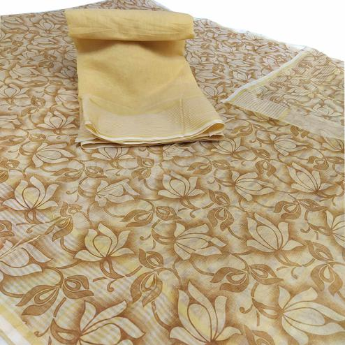 Magnetic Beige Colored Casual Wear Floral Printed Net Saree