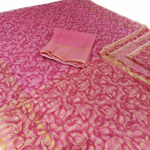 Flattering Pink Colored Casual Wear Floral Printed Net Saree