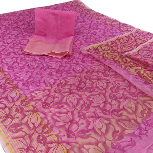 Unique Purple Colored Casual Wear Floral Printed Net Saree
