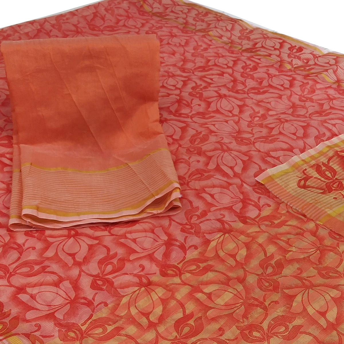 Marvellous Peach Colored Casual Wear Floral Printed Net Saree