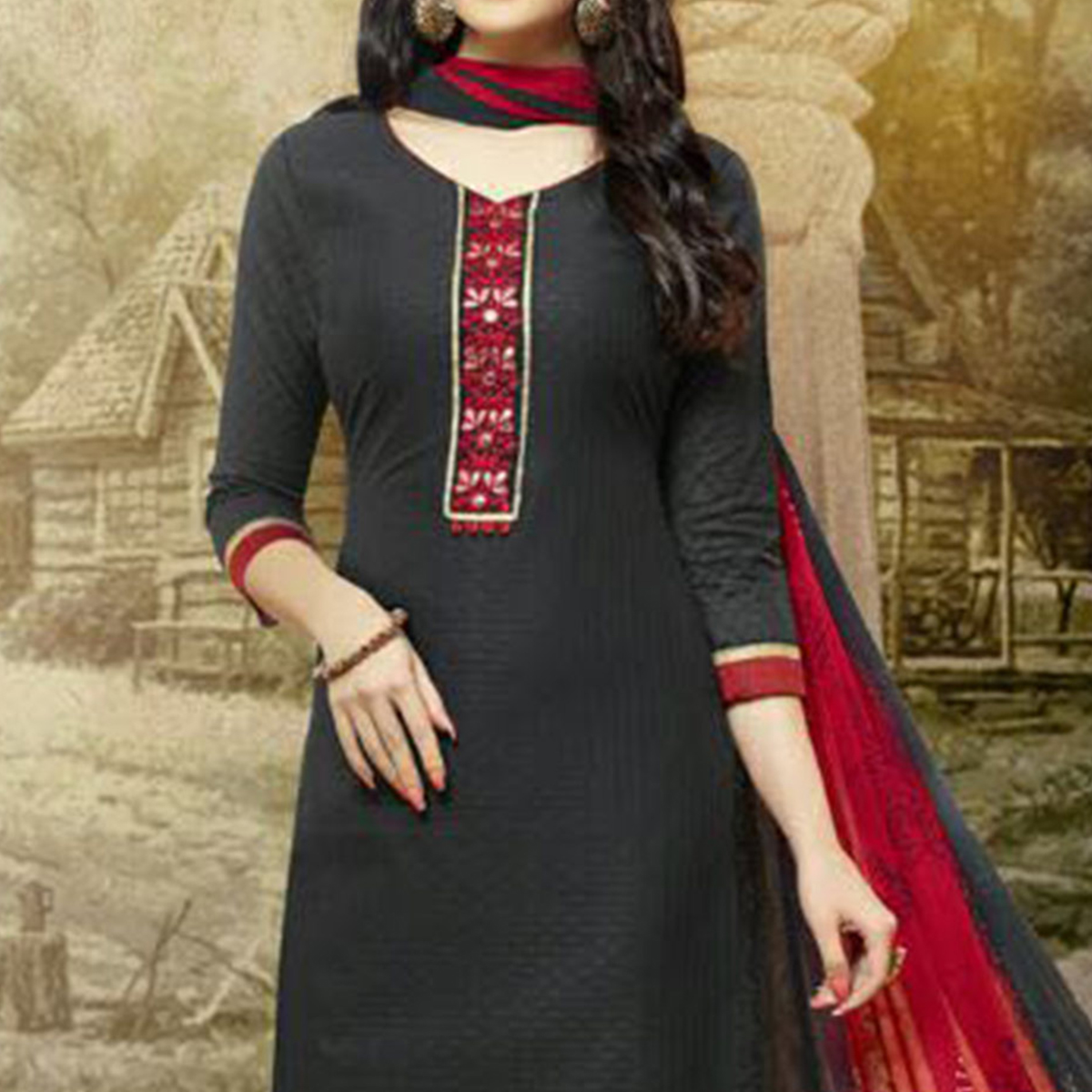 Black - Red Embroidered Work Cotton Suit
