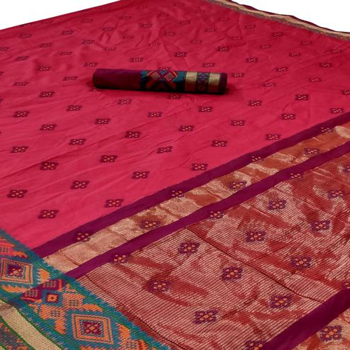 Fantastic Pink Colored Festive Wear Woven Silk Saree