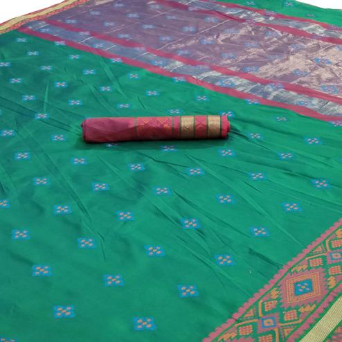 Gorgeous Green Colored Festive Wear Woven Silk Saree