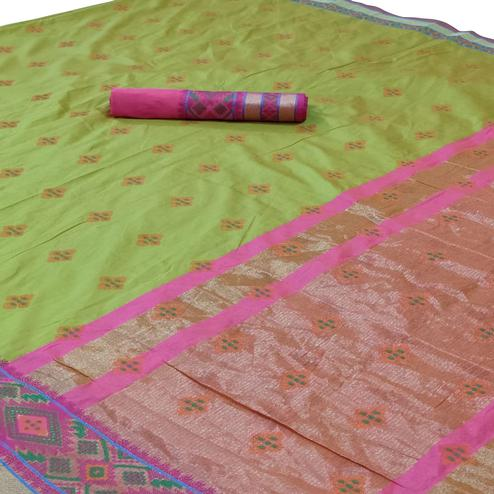 Blissful Parrot Green Colored Festive Wear Woven Silk Saree