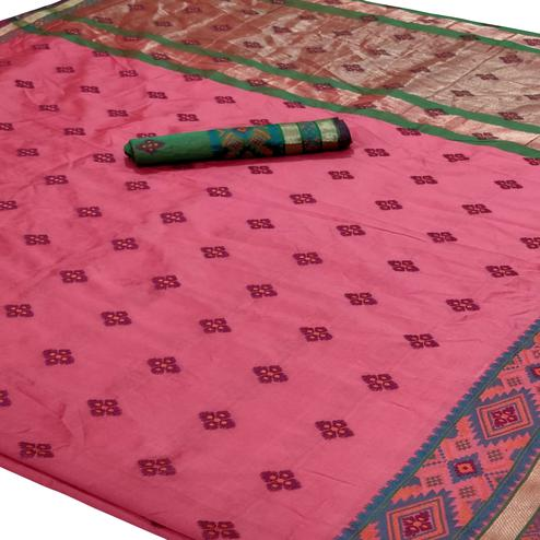 Ideal Light Pink Colored Festive Wear Woven Silk Saree
