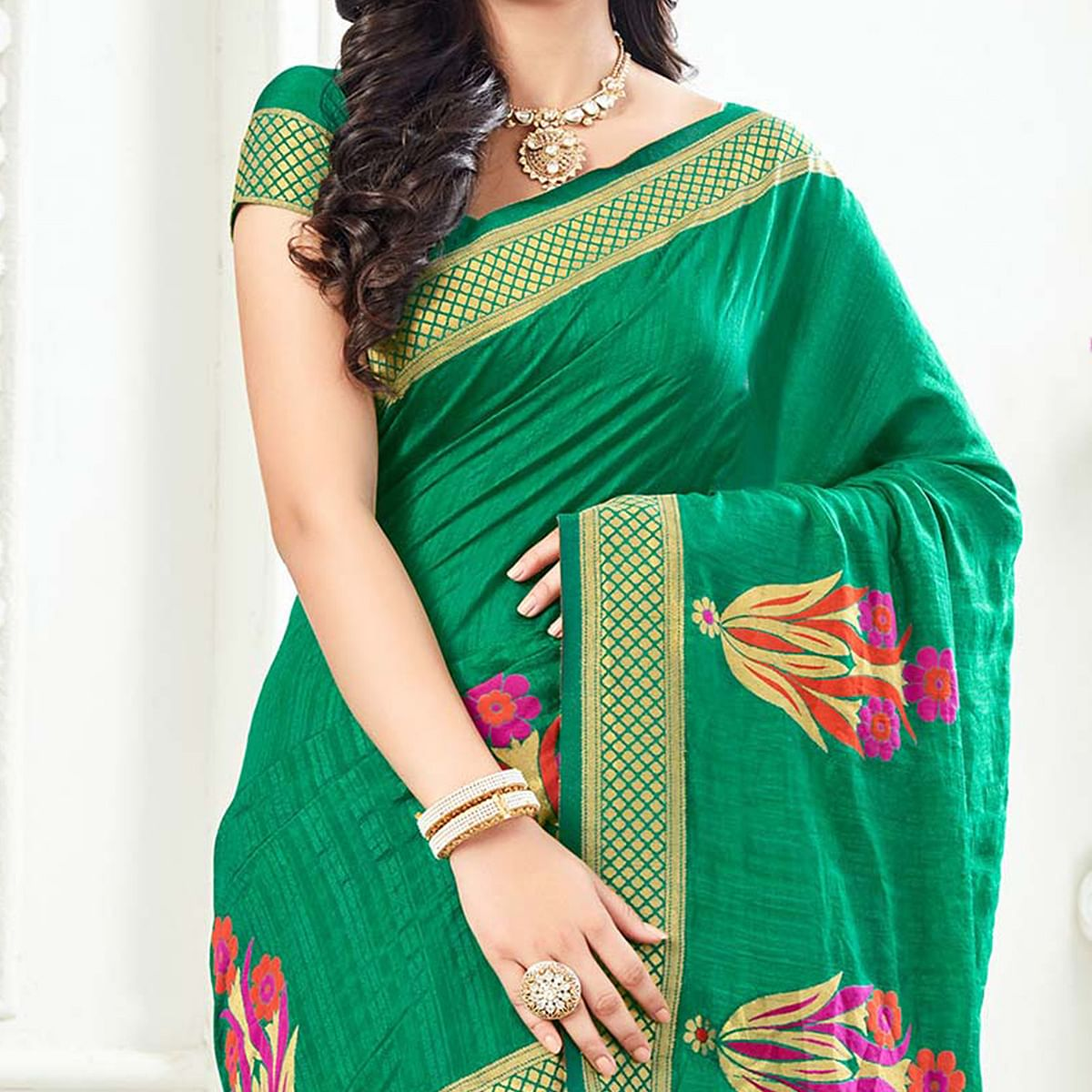Stunning Green Festive Wear Woven Raw Silk Saree