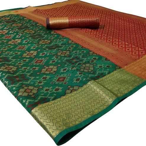 Pleasant Turquoise Green Colored Festive Wear Woven Silk Saree