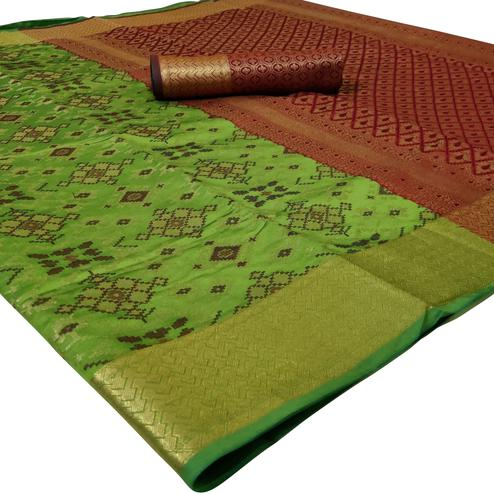 Opulent Parrot Green Colored Festive Wear Woven Silk Saree