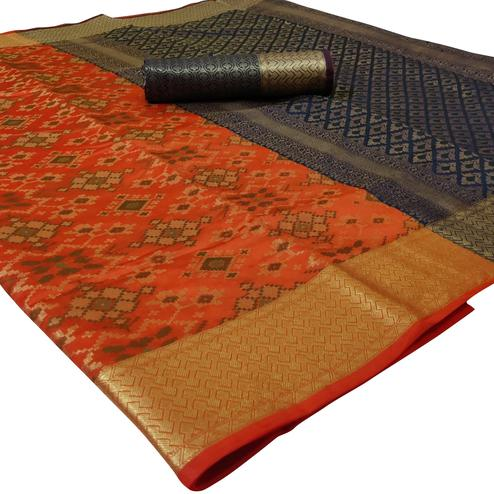 Glowing Peach Colored Festive Wear Woven Silk Saree