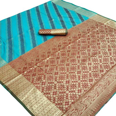 Majesty Blue Colored Festive Wear Woven Silk Saree