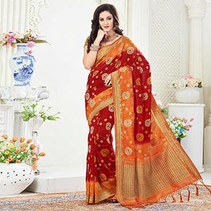 Lovely Maroon Festive Wear Woven Raw Silk Saree