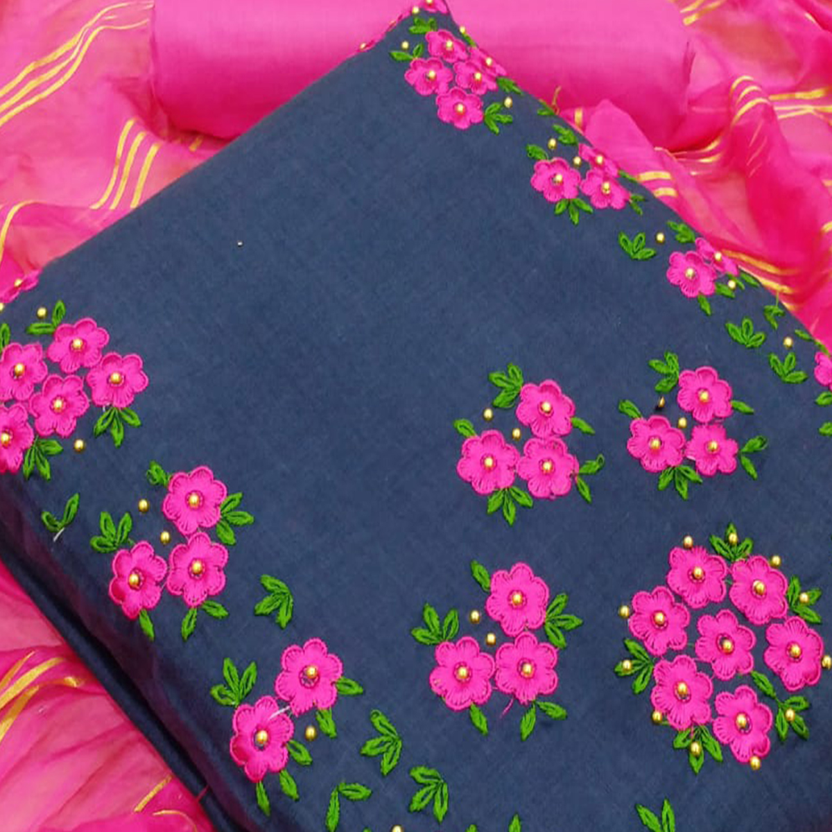 Glowing Navy Blue Colored Party Wear Floral Embroidered Cotton Dress Material