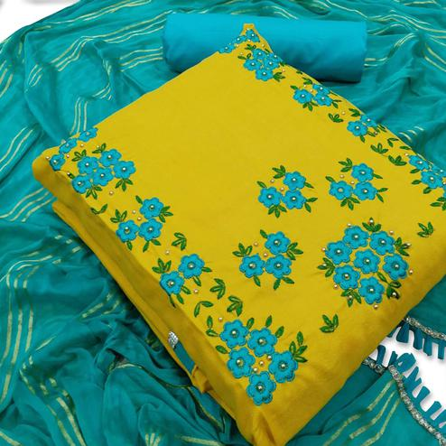 Gleaming Yellow Colored Party Wear Floral Embroidered Cotton Dress Material