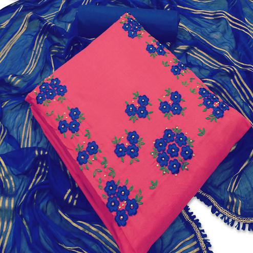 Mesmeric Pink Colored Party Wear Floral Embroidered Cotton Dress Material