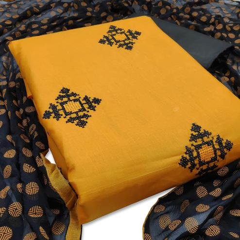 Classy Yellow Colored Casual Wear Embroidered Cotton Dress Material