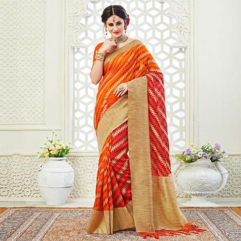 Stunning Orange Festive Wear Woven Raw Silk Saree