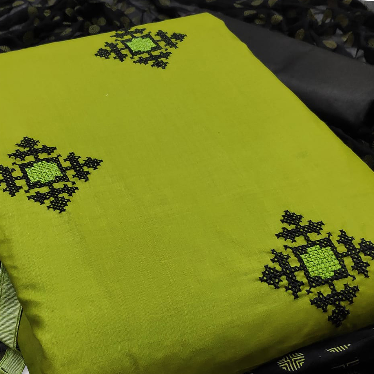 Groovy Green Colored Casual Wear Embroidered Cotton Dress Material