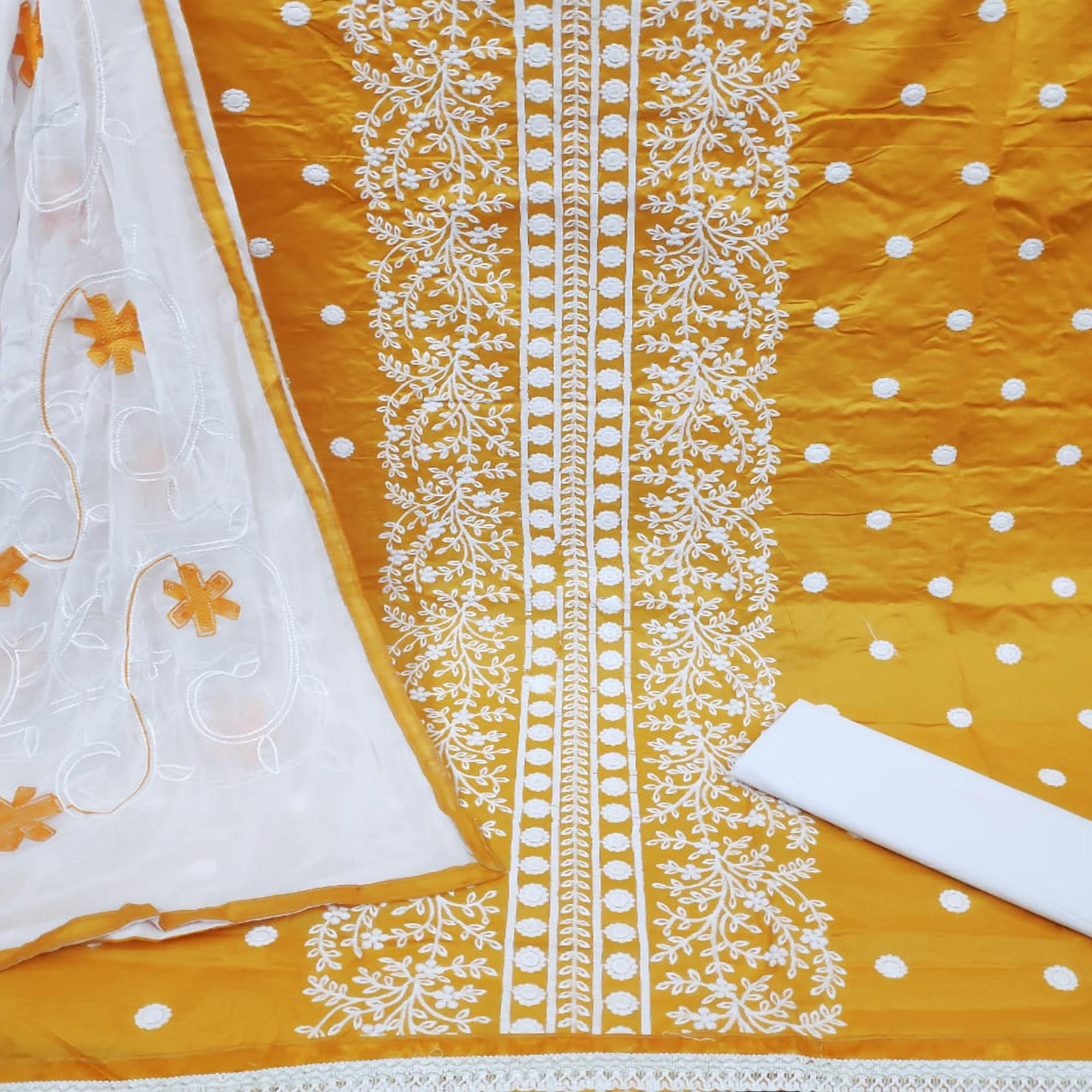 Gleaming Yellow Colored Casual Wear Embroidered Cotton Dress Material