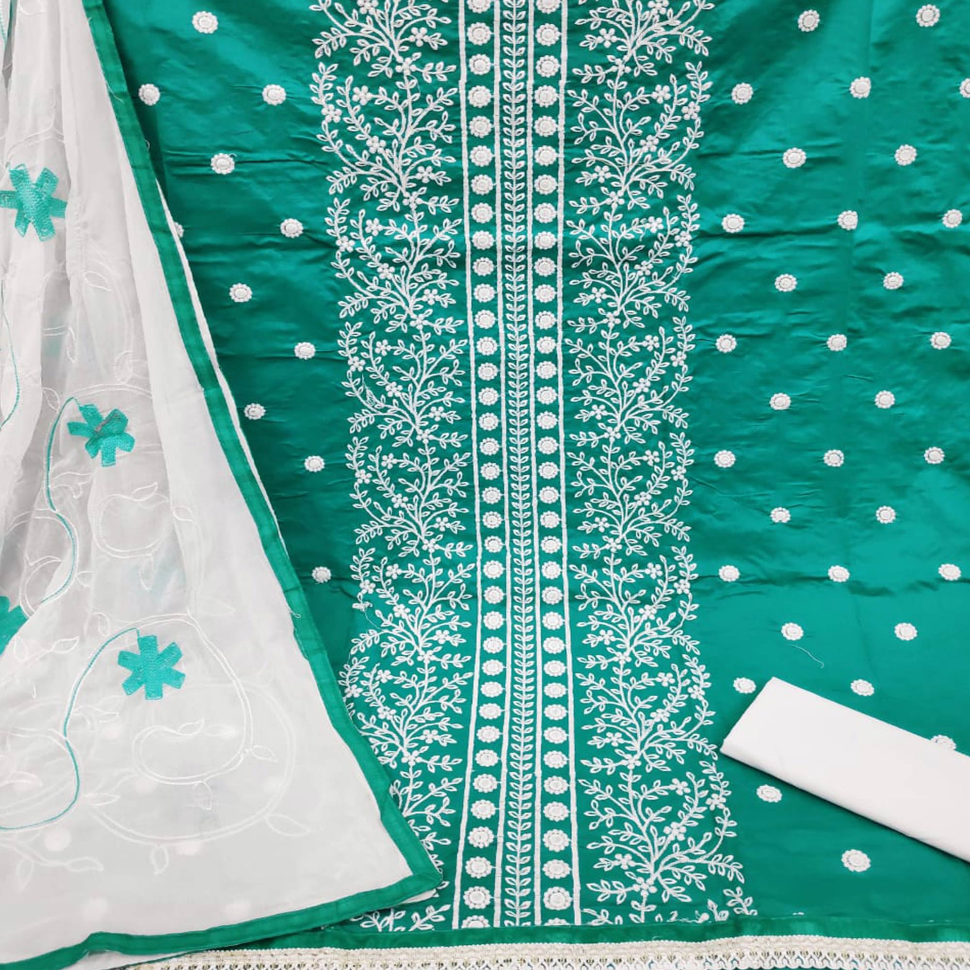 Mesmeric Green Colored Casual Wear Embroidered Cotton Dress Material