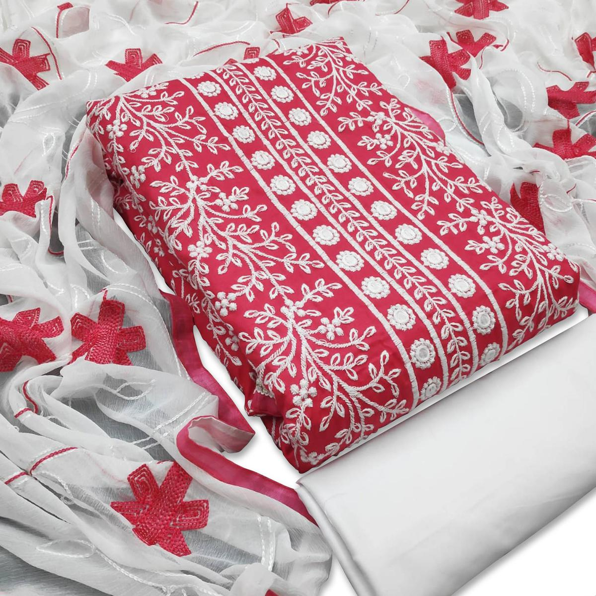 Unique Pink Colored Casual Wear Embroidered Cotton Dress Material