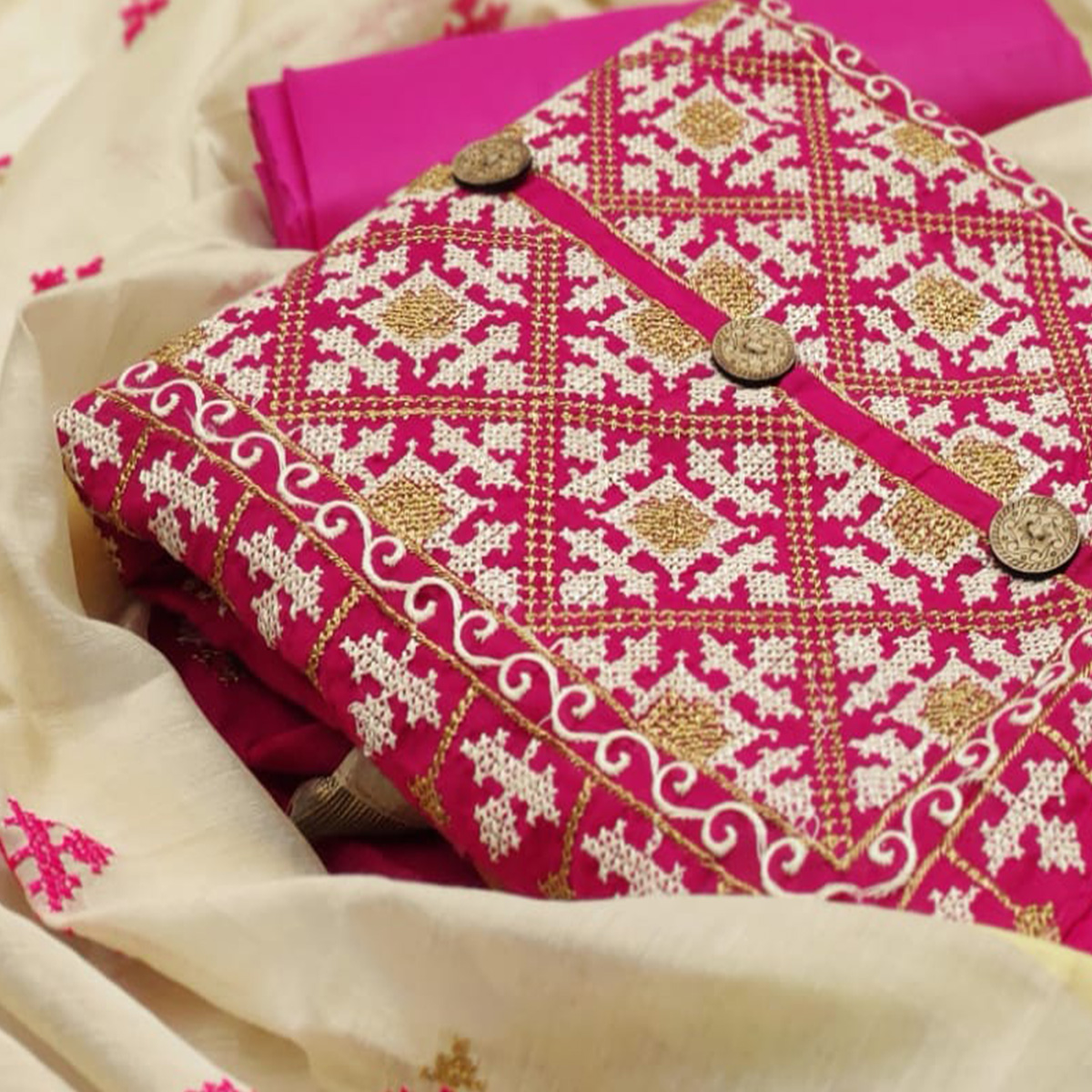 Intricate Pink Colored Casual Wear Embroidered Modal Chanderi Silk Dress Material