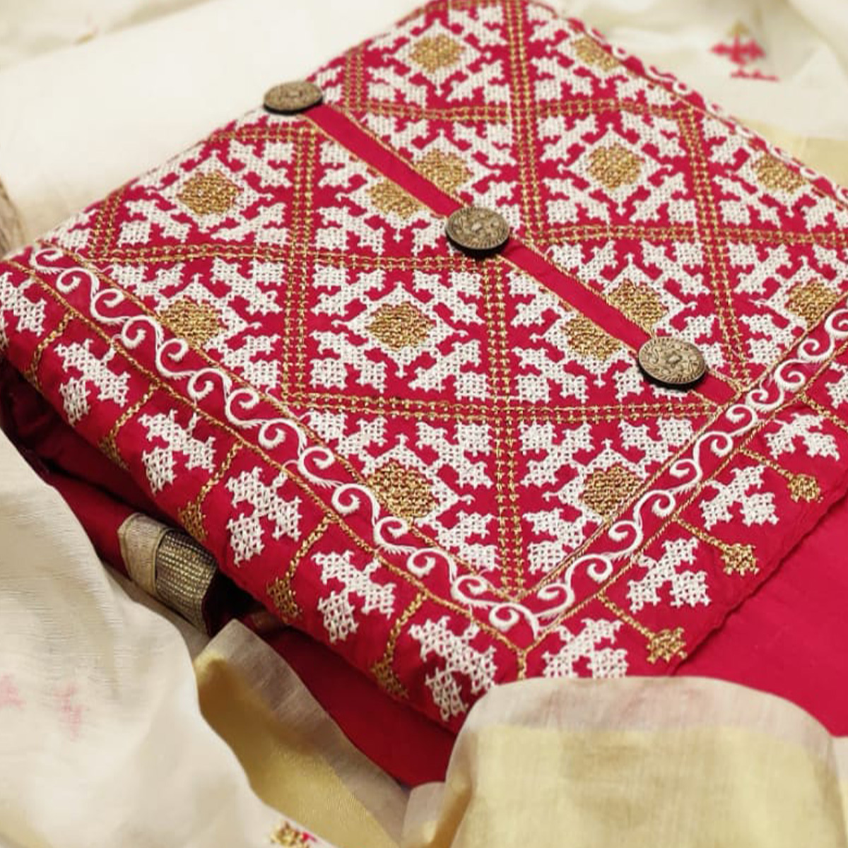 Desirable Red Colored Casual Wear Embroidered Modal Chanderi Silk Dress Material