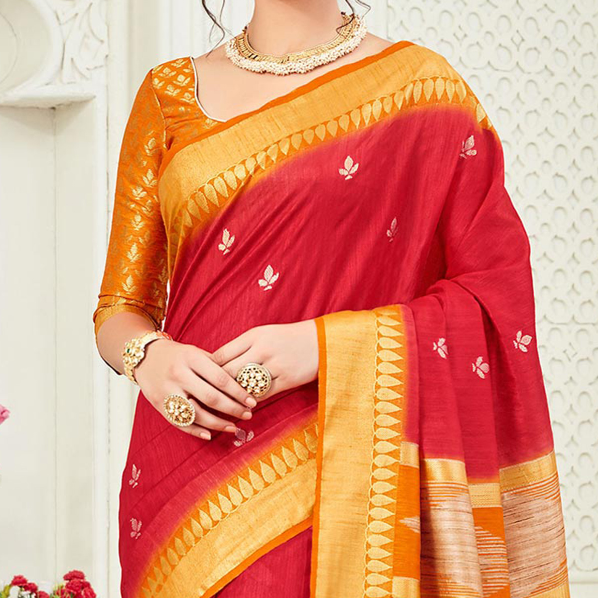 Attractive Red Festive Wear Woven Raw Silk Saree