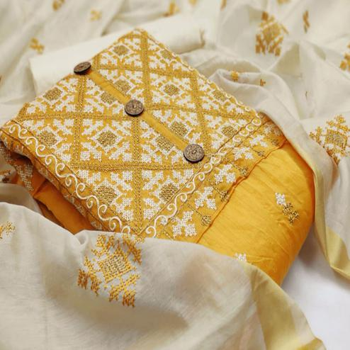 Trendy Yellow Colored Casual Wear Embroidered Modal Chanderi Silk Dress Material