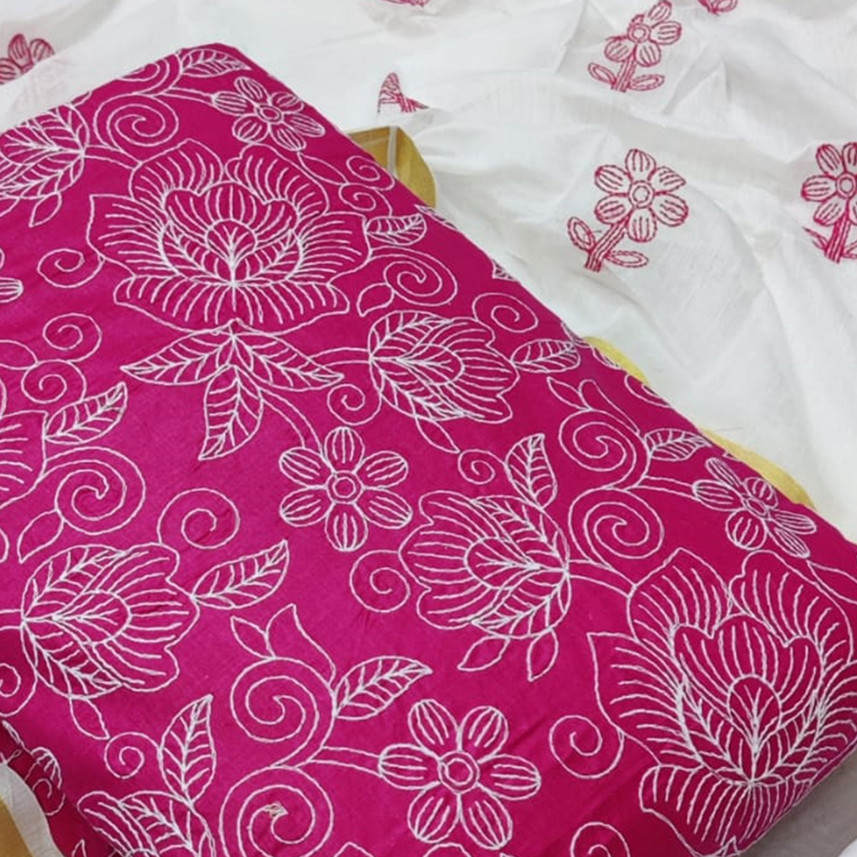 Ethnic Pink Colored Casual Wear Embroidered Cotton Dress Material