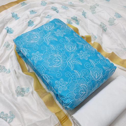 Ravishing Blue Colored Casual Wear Embroidered Cotton Dress Material