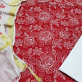 Staring Red Colored Casual Wear Embroidered Cotton Dress Material
