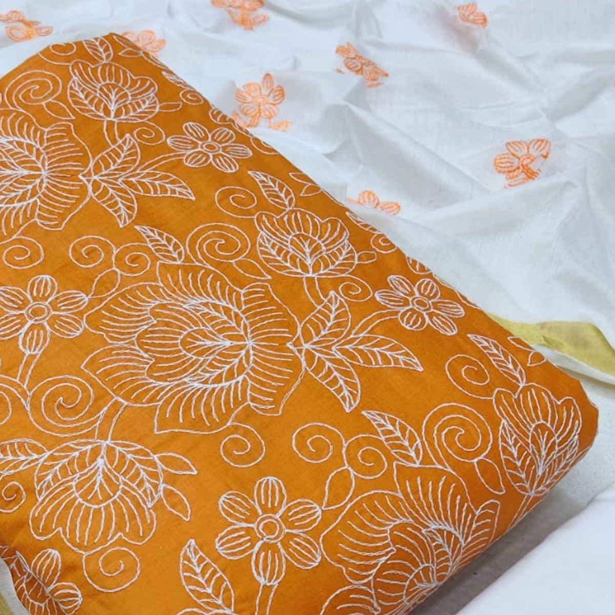 Dazzling Yellow Colored Casual Wear Embroidered Cotton Dress Material