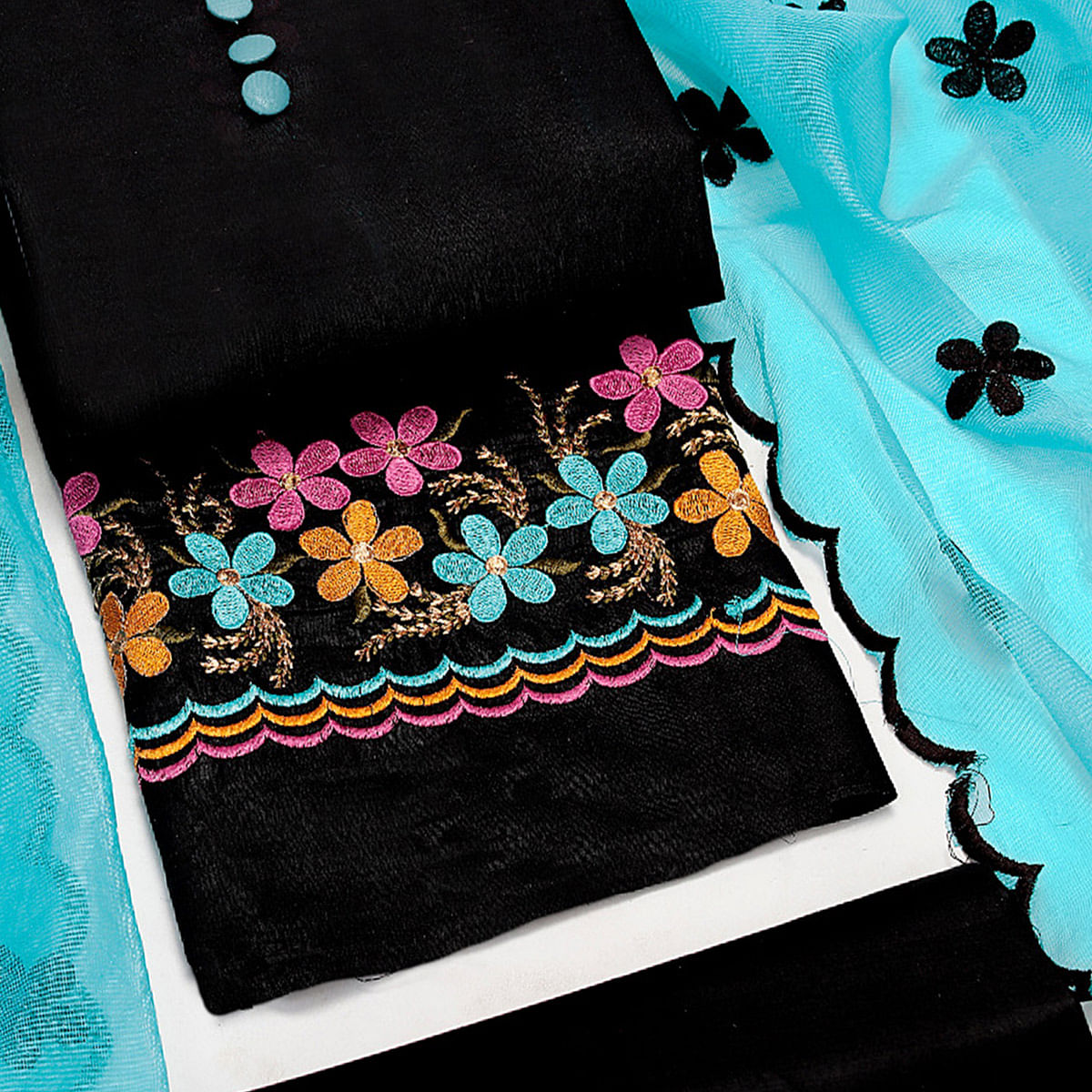 Pretty Black-Blue Colored Party Wear Floral Embroidered Cotton Dress Material