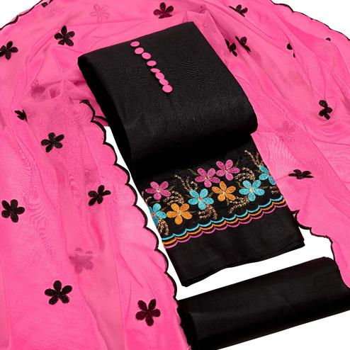 Alluring Black-Pink Colored Party Wear Floral Embroidered Cotton Dress Material