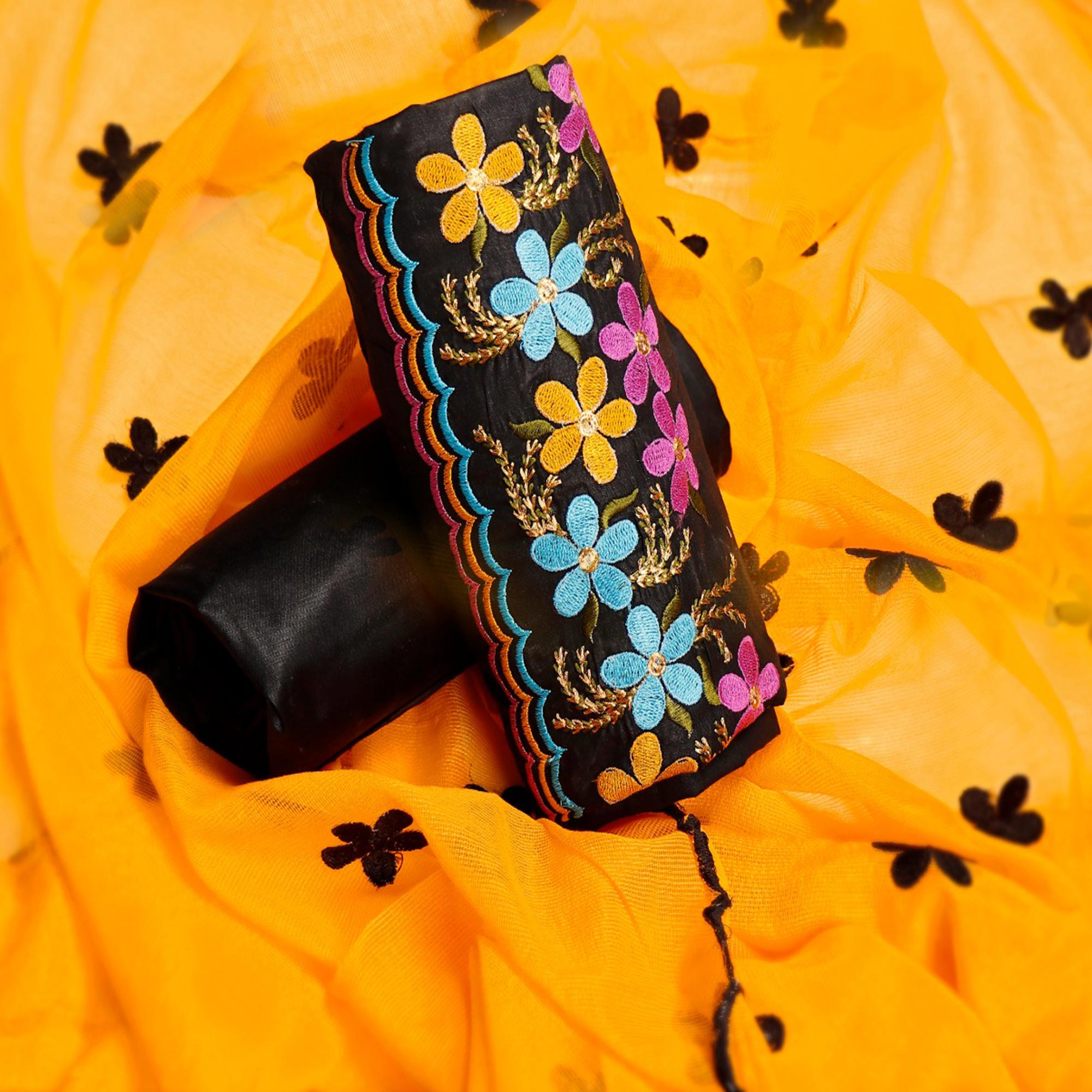 Flaunt Black-Yellow Colored Party Wear Floral Embroidered Cotton Dress Material