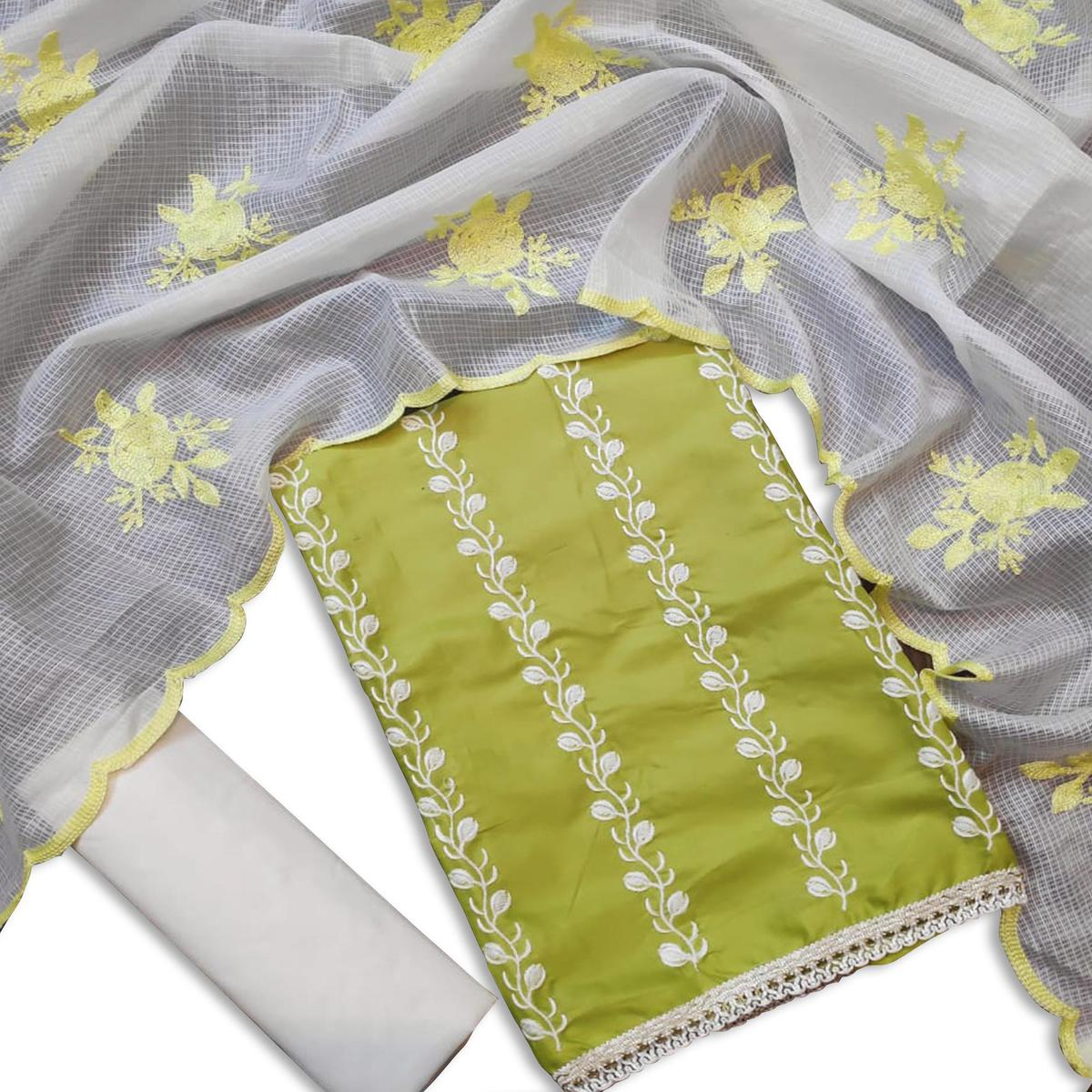 Arresting Olive Green Colored Casual Wear Embroidered Cotton Dress Material